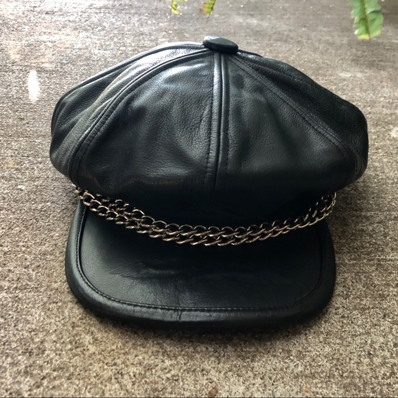 83a387554 Vintage 80s Harley Davidson Leather Captains Hat